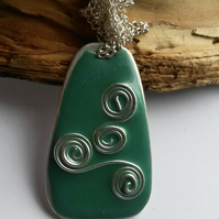 Necklace Green Swirl