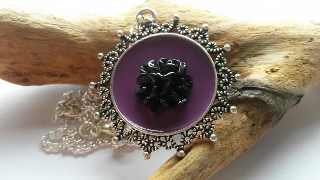 Necklace Black Rose on Purple
