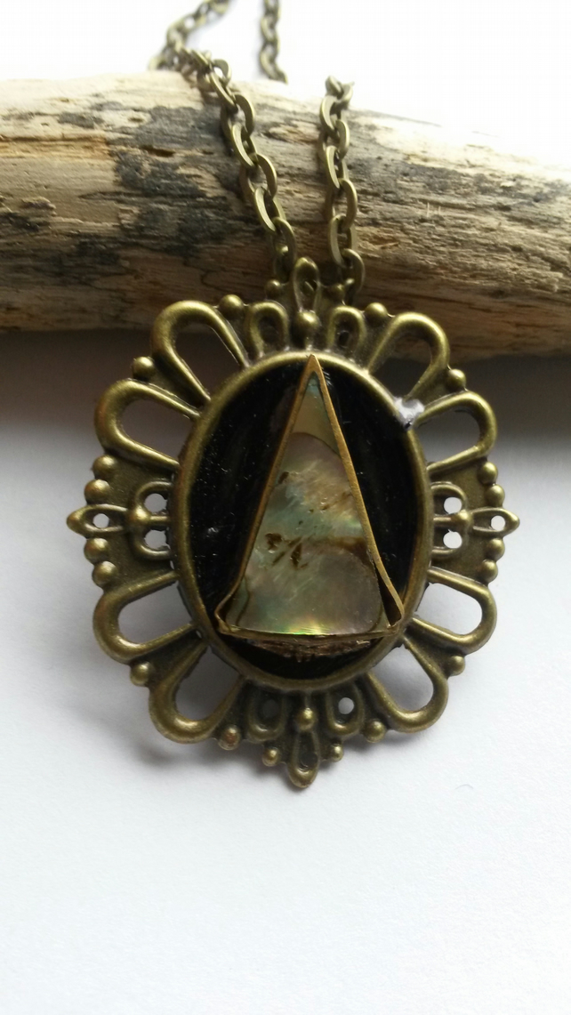 Necklace Abalone and Bronze