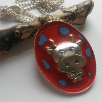 Necklace Spotty Cow Red and Blue
