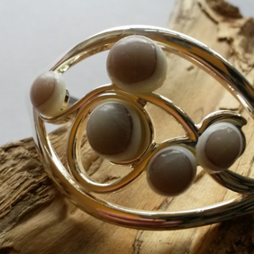 Softly Coffee - fused glass and silver plated bangle