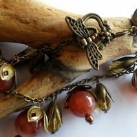 Bracelet Bronze, Orange and Dragonfly