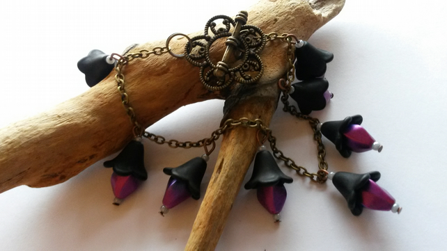 Bracelet Black and Purple Flower