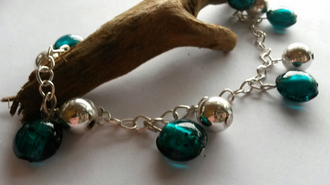 Anklet Green and Silver