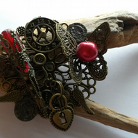 Brooch - butterflies, bronzes and beads