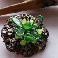 Brooch Green Faerie Wings