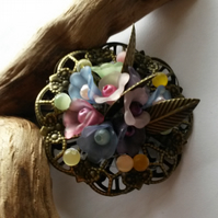 Brooch flowers and leaves