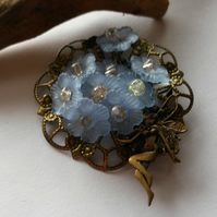 Brooch Forget-me-not fairy