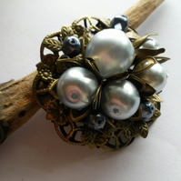 Brooch Pale Blue and Bronze