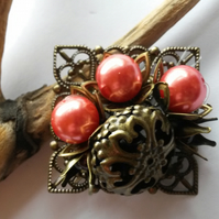 Brooch Peach Delight with filigree and acrylic beads