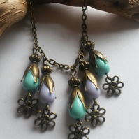 Necklace Purple and Green Flower