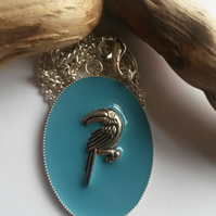 Necklace Toucan on Blue