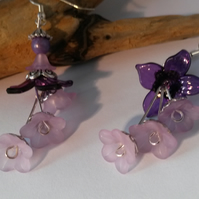 Earrings Blossom Cascade in Purple