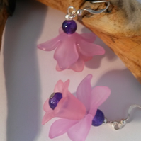 Earrings Big Flower in pink and purple