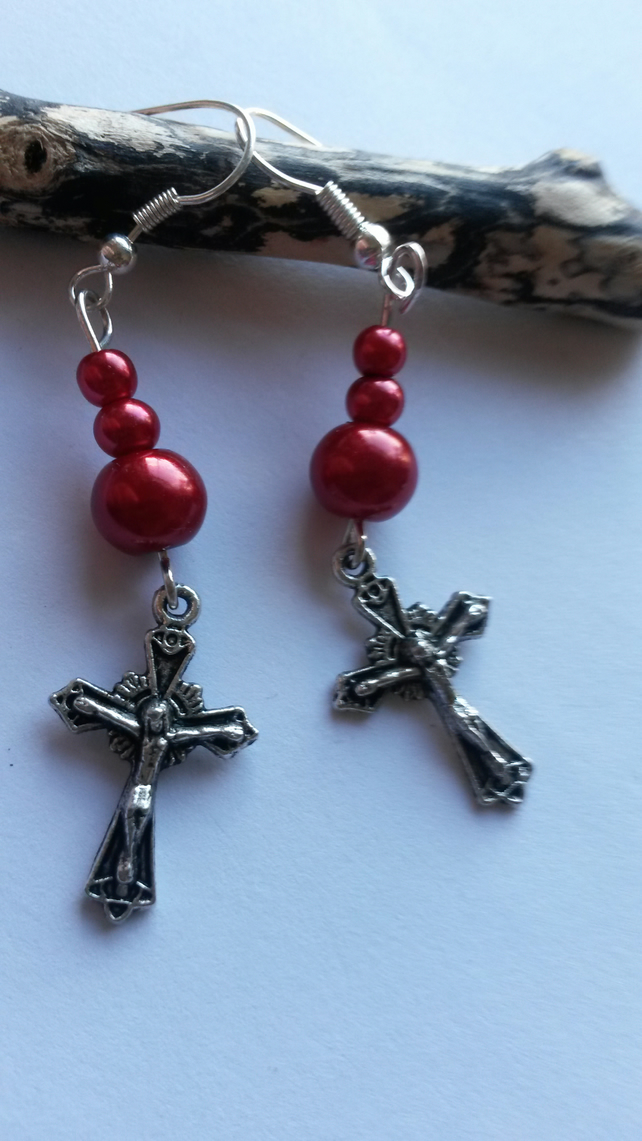 Earrings Blood Red Beads and Crucifix