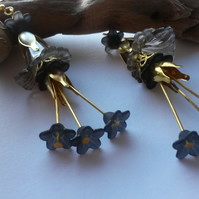 Earrings Black and Gold Bouquet