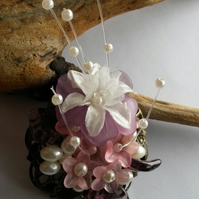 Brooch Wistful with flowers and faux pearls