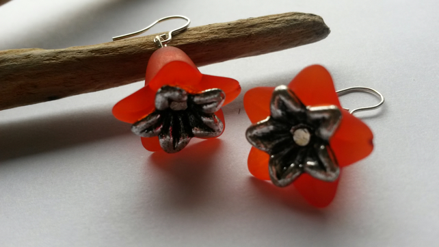 Earrings Big Red Flowers