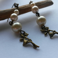 Earrings Faux Pearl and Fairies