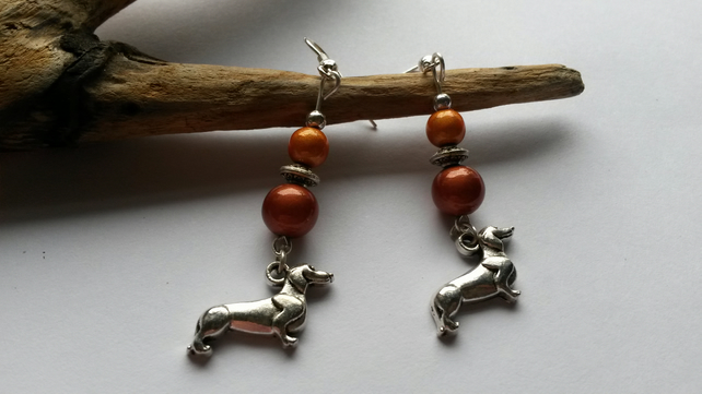 Earrings Dachshund Moon