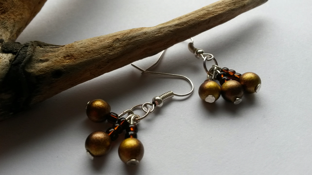 Earrings  coffee and mocha beads
