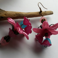 Earrings Fuchsia and Turquoise Blossoms