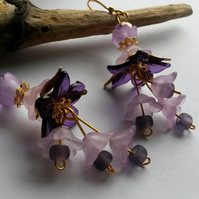 Earrings Garden Party with purple lucite flowers