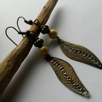 Earrings Bronze and Yellow Dangles