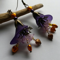 Earrings Golden Hearts and Purple Flowers
