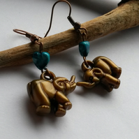 Earrings Elephant and turquoise hearts