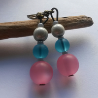 Earrings Pink, White and Blue
