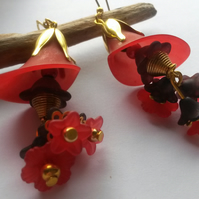 Earrings Red and Black Lucite Flowers