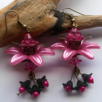 Shocking Pink and Black Lucite flower statement earrings