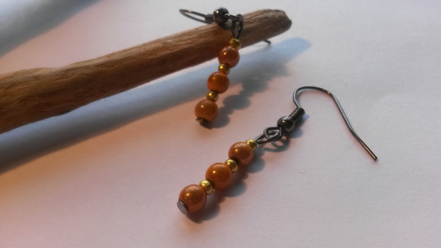 Earrings Sunset with beautiful orange beads