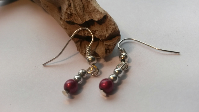 Earrings Shorties  -  pink and silver  beads
