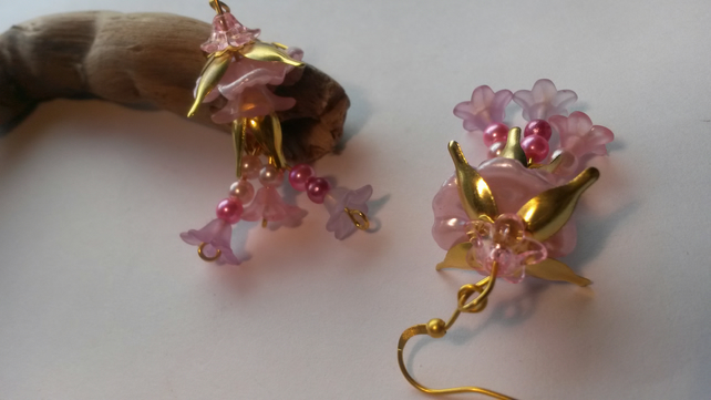 Earrings Pink Lucite Flowers