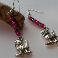 Earrings Pink Birds