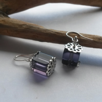 Earrings Square style in purple