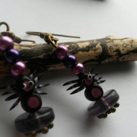 Earrings Spider in purple