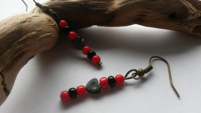 Earrings Roxy,  with red and black beads