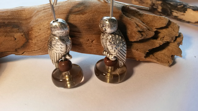 Earrings Standing Owls