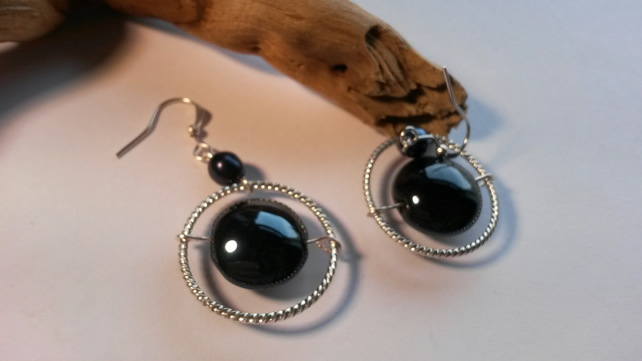 Earrings Sphere's of silver and blue