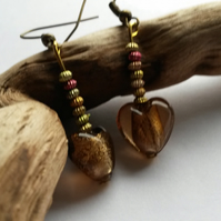 Earrings metallic heart