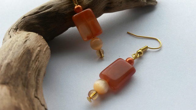 Earrings Orange Tones