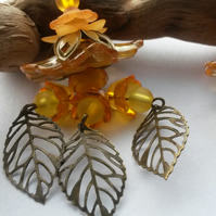 Earrings Orange Blossom & Lucite flower