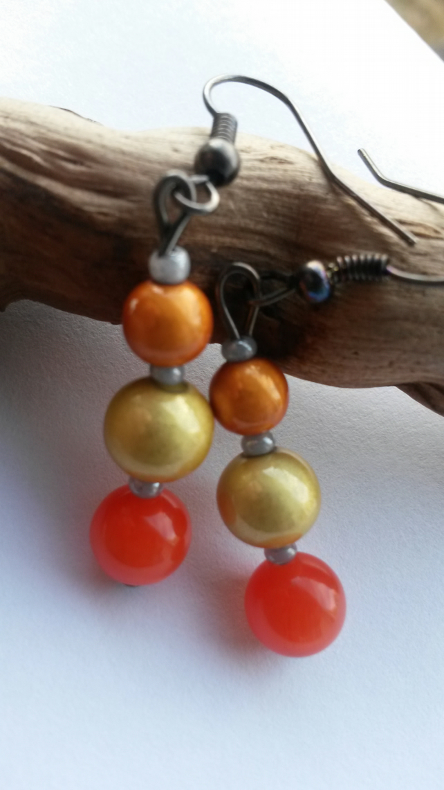 Earrings Sunrise with orange and yellow beads