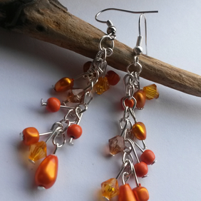 Earrings Orange Rain Drops