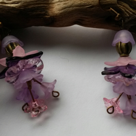 Earrings  Lucite Delight, in pinks and purples