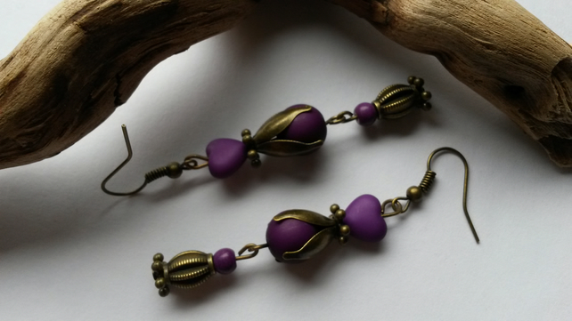 Earrings Katrina in Purple