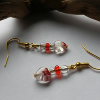 Earrings Hearts with seed beads